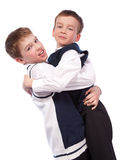 Two merry brothers hugging Stock Photo