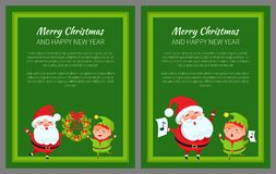 Two Merry Christmas Banners with Santa and Elf Stock Photos