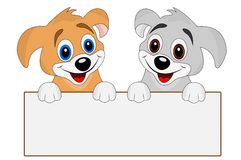Two merry dogs hold a clean banner Royalty Free Stock Images