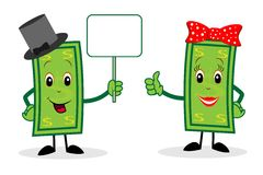 Two merry dollars hold a clean banner Stock Image