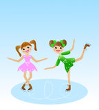 Two merry girl  goes for a drive in beautiful dress on skate. Vector illustration Royalty Free Stock Photos