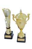 Two metal award cups of different models of gold color for winners. Are isolated on a white background royalty free stock photo