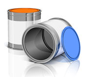 Two metal cans with colored lids Royalty Free Stock Photo