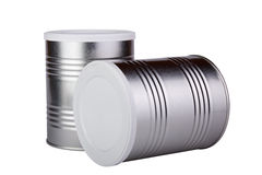 Two metal cans. Royalty Free Stock Images
