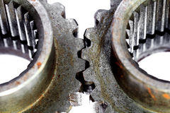 Two metal cog gears Royalty Free Stock Photos