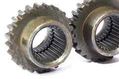 Two metal cog gears Stock Photos