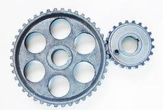 Two metal cogwheels Stock Images