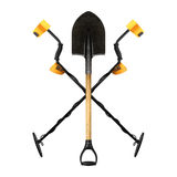 Two Metal detector crossed shovel. Royalty Free Stock Photography