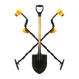 Two Metal detector crossed shovel. Royalty Free Stock Images