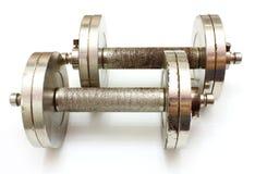 Two metal dumbbells Stock Photo
