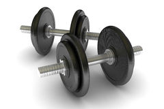 Two metal dumbbells isolated. On white vector illustration