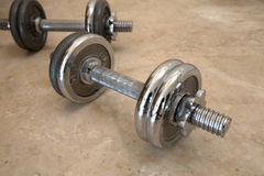 Two metal dumbbells Royalty Free Stock Image