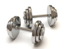 Two Metal Dumbbells On White Background Stock Image