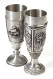 Two metal european wine goblets Royalty Free Stock Photo