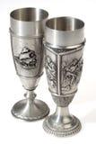 Two metal european wine goblets Royalty Free Stock Photo