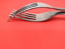 Two metal forks royalty free stock photos