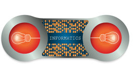 Two metal frames. And the words informatics and binary code Stock Images