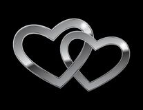 Two metal hearts. Two hearts of steel on a black background vector illustration