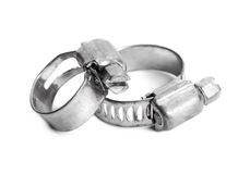 Two metal hose clamps on white Royalty Free Stock Photography