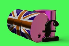 Two Metal Industrial Oil Barrels with Pound sign and British flag 3D rendering royalty free illustration