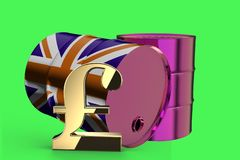 Two Metal Industrial Oil Barrels with Pound sign and British flag 3D rendering vector illustration