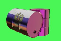 Two Metal Industrial Oil Barrels with Russian flag 3D rendering royalty free illustration