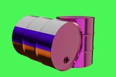 Two Metal Industrial Oil Barrels with Russian flag 3D rendering vector illustration