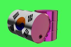 Two Metal Industrial Oil Barrels with South Korea Flag 3D rendering royalty free illustration
