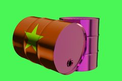 Two Metal Industrial Oil Barrels with Vietnam Flag 3D rendering stock illustration