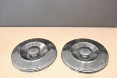 Two metal lids Stock Image