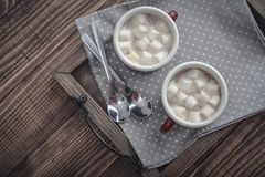 Two metal mugs cocoa with marshmallows Stock Photos