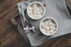 Two metal mugs cocoa with marshmallows Royalty Free Stock Image
