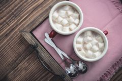 Two metal mugs cocoa with marshmallows Stock Photo