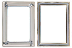Two metal photoframes. On a white background Royalty Free Stock Image