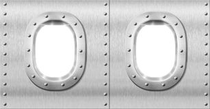 Two metal portholes or windows Stock Images