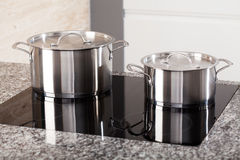 Two metal pots on induction hob Stock Images