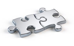 Two metal puzzle. Partnership concept Stock Photo