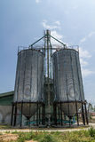 Two metal silo Stock Image