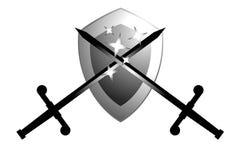 Two metal swords. Creative design of two swords vector illustration