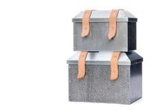 Two metal tool box Stacking on White Background. Two metal tool box on White Background, Studio Shot royalty free stock photos