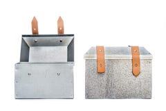 Two metal tool box on White Background. Studio Shot royalty free stock photo