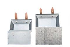 Two metal tool box on White Background. Studio Shot royalty free stock photos
