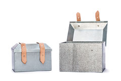 Two metal tool box on White Background. Studio Shot royalty free stock images