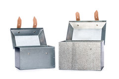 Two metal tool box on White Background. Studio Shot royalty free stock photography