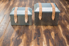 Two metal tool box on wooden table. Studio Shot royalty free stock photography