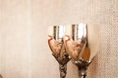 Two metal wineglasses Royalty Free Stock Photos