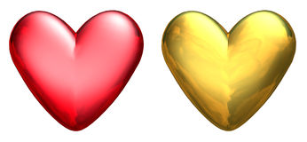 Two Metallic 3D Hearts.  Royalty Free Stock Photography