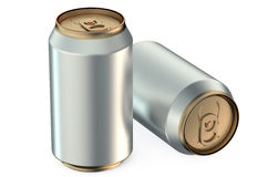 Two metallic beer cans Stock Photo