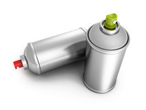 Two metallic blank spray paint graffity cans. 3d render illustration Stock Photos