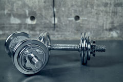Two metallic dumbell for a workout. In a loft studio Stock Photography